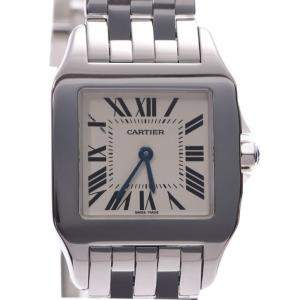 Cartier White Stainless Steel Santos Demoiselle LM W25065Z5 Men's Wristwatch 26 MM