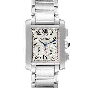 Cartier Silver Stainless Steel Tank Francaise Chrongraph W51024Q3 Men's Wristwatch 37x28 MM