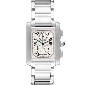 Cartier Off White Stainless Steel Tank Francaise Chronoflex Chronograph W51001Q3 Men's Wristwatch 37x28 MM