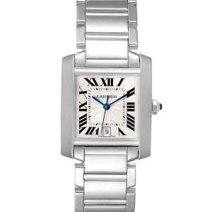 Cartier Silver 18K White Gold Tank Francaise W50011S3 Men's Wristwatch 32x28 MM