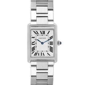 Cartier Silver Stainless Steel Tank Solo W5200014 Men's Wristwatch 27x34 MM