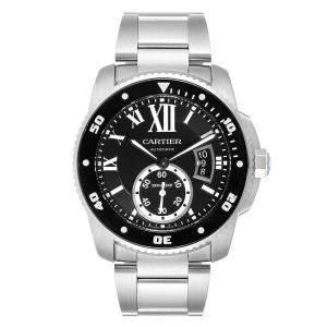 Cartier Black Stainless Steel Calibre Automatic W7100057 Men's Wristwatch 42 MM