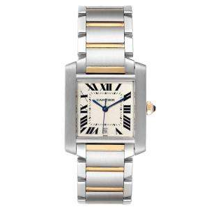 Cartier Silver Stainless Steel And 18K Yellow Gold Tank Francaise Automatic W51005Q4 Men's Wristwatch 28 x 32 MM