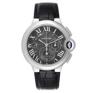 Cartier Black Stainless Steel Ballon Bleu Chronograph W6920052 Men's Wristwatch 47 MM