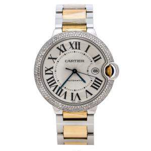 Cartier Silver Stainless Steel and 18K Yellow Gold Diamond Ballon Bleu 3001 Men's Wristwatch 42 mm