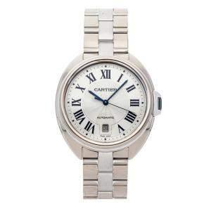 Cartier Silver 18K White Gold Cle de Cartier WGCL0006 Men's Wristwatch 40 MM