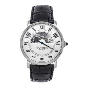 Cartier Silver 18K White Gold Rotonde Day/Night W1550151 Men's Wristwatch 42 MM