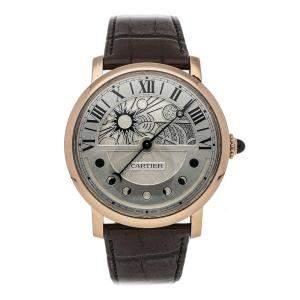 Cartier Silver 18K Rose Gold Rotonde de Cartier Moon Phases W1556243 Men's Wristwatch 43.5 MM