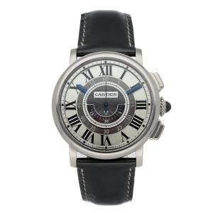 Cartier Silver 18k White Gold Rotonde de Cartier Central Chronograph W1556051 Men's Wristwatch 42 MM