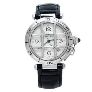 Cartier Silver Stainless Leather Steel Pasha de Cartier 2374 Men's Wristwatch 38 mm
