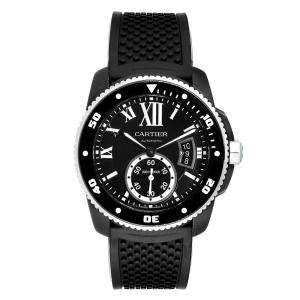 Cartier Black ADLC Coated Stainless Steel Calibre Divers WSCA0006 Men's Wristwatch 42 MM
