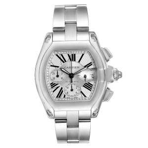 Cartier Silver Stainless Steel Roadster XL Chronograph Automatic W62019X6 Men's Wristwatch 49 x 43 MM