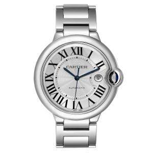 Cartier Silver Stainless Steell Ballon Bleu Automatic W69012Z4 Men's Wristwatch 42 MM
