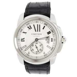 Cartier Silver Stainless Leather Steel Calibre de Cartier 3389 Men's Wristwatch 42 mm
