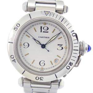 Cartier White Stainless Steel Pasha Automatic Men's Wristwatch 36 MM