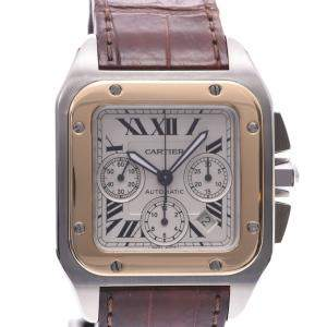 Cartier White 18K Yellow Gold And Stainless Steel Santos 100 Chrono XL W20091X7 Men's Wristwatch 36 MM