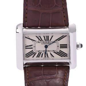 Cartier White Stainless Steel Tank Divan W6300655 Men's Wristwatch 38 MM