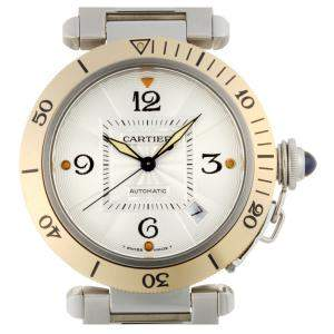 Cartier Silver 18K Yellow Gold And Stainless Steel Pasha W31035T6 Men's Wristwatch 38 MM
