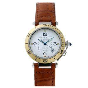 Cartier Silver Gold Tone Stainless Steel Pasha Automatic W1859 Men's Wristwatch 38 MM