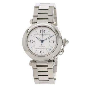 Cartier White Stainless Steel Pasha C Automatic Men's Wristwatch 35 MM
