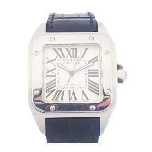 Cartier White Stainless Steel Santos 100 Automatic W20073X8 Men's Wristwatch 51 x 41 MM