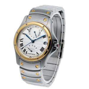 Cartier Silver 18K Yellow Gold And Stainless Steel Santos Rondo GMT Automatic W20038R3 Men's Wristwatch 33 MM
