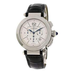 Cartier Silver Stainless Steel Pasha W3108555 Men's Wristwatch 42 MM