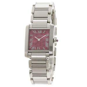 Cartier Pink Stainless Steel Tank Francaise W51030Q3 Christmas Limited Women's Wristwatch 25 x 20 MM