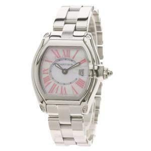 ساعة يد نسائية كارتييه ستانلس ستيل رودستر كوارتز W6206006 صدف وردية 31 مم