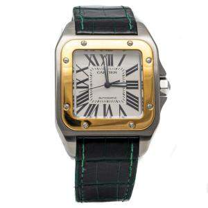 Cartier Santos 100 Silver Dial Stainless Steel & Yellow Gold Automatic Men's Wristwatch 38MM