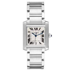 Cartier Silver Stainless Steel Tank Francaise W51002Q3 Automatic Men's Wristwatch 28 x 32 MM