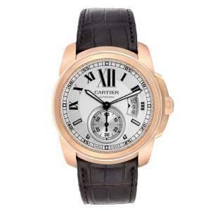 Cartier Silver 18K Rose Gold Calibre De Automatic W7100009 Men's Wristwatch 42 MM