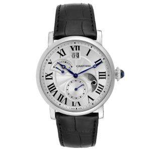 Cartier Silver Stainless Steel Rotonde Retrograde GMT Time Zone 1556368 Men's Wristwatch 37 MM