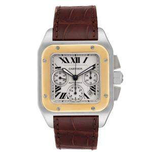 Cartier Silver 18K Yellow Gold And Stainless Steel Santos 100 W20091X7 Automatic Men's Wristwatch 55 x 41.5 MM