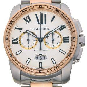 Cartier Silver 18K Rose Gold And Stainless Steel Calible De Chronograph W7100042 Men's Wristwatch 42 MM