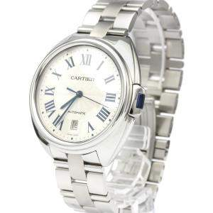 Cartier Silver Stainless Steel Cle Cartier Automatic WSCL0007 Men's Wristwatch 40 MM