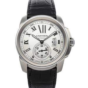 Cartier Silver Stainless Steel Calibre de Cartier W7100037 Men's Wristwatch 42 MM