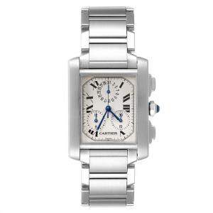 Cartier Off White Stainless Steel Tank Francaise Chronoflex W51001Q3 Men's Wristwatch 37 x 28 MM