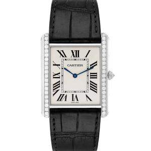 Cartier Silver Diamonds 18K White Gold Tank Louis XL WT200006 Men's Wristwatch 40 x 35 MM