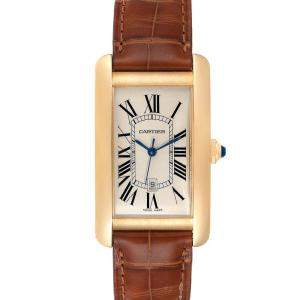 Cartier Silver 18K Yellow Gold Tank Americaine Automatic W2603156 Men's Wristwatch 26 x 45 MM
