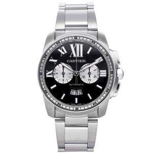 Cartier Black Stainless Steel Calibre De Cartier W7100061 Men's Wristwatch 42 MM