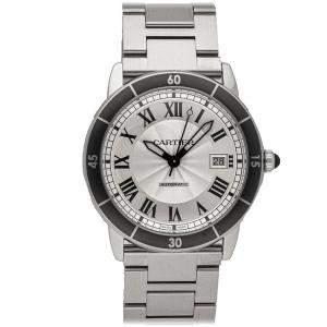 Cartier Silver Stainless Steel Ronde Croisiere WSRN0010 Men's Wristwatch 42 MM