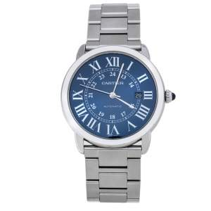 Cartier Blue Stainless Steel Ronde Solo de Cartier Automatic Men's Wristwatch 41MM
