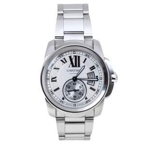 Cartier White Stainless Steel Calibre De Cartier 3389 W7100016 Automatic Men's Wristwatch 42MM