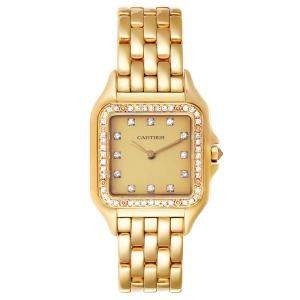 Cartier Champagne Diamonds 18k Yellow Gold Panthere 883969 Men's Wristwatch 26 x 36 MM
