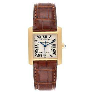 Cartier Silver 18K Yellow Gold Tank Francaise Automatic W5000156 Men's Wristwatch 28 x 32 MM