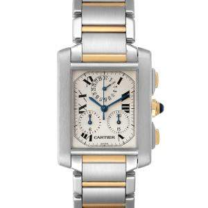 Cartier Silver 18K Yellow Gold And Stainless Steel Tank Francaise Chrongraph W51004Q4 Men's Wristwatch 37 x 28 MM