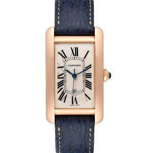 Cartier Silver 18K Rose Gold Tank Americaine W2609156 Men's Wristwatch 26 x 45 MM