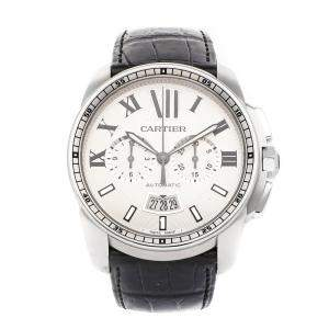 Cartier Silver Stainless Steel Calibre De Cartier Chronograph W7100046 Men's Wristwatch 42 MM