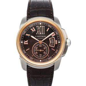 Cartier Brown 18K Rose Gold And Stainless Steel Calibre De Cartier W7100051 Men's Wristwatch 42 MM
